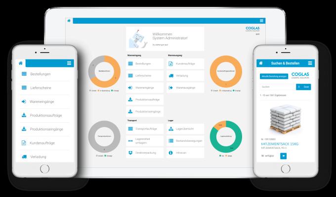 COGLAS WEB WMS Dashboard auf mobilen Endgeräten