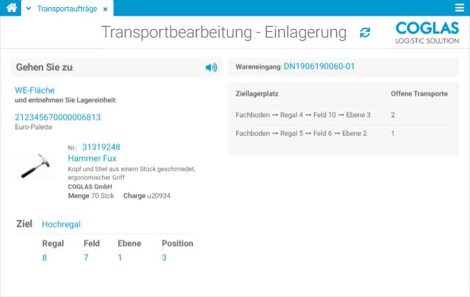 COGLAS WEB WMS - Bearbeitung Transportaufträge