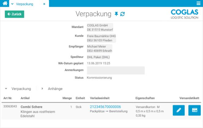 COGLAS WEB WMS - Verpackung und Versand