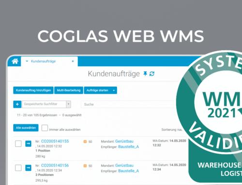 """COGLAS erhält auch 2021 das Teilnehmerzertifikat der Logistik IT-Plattform """"warehouse logistics"""""""